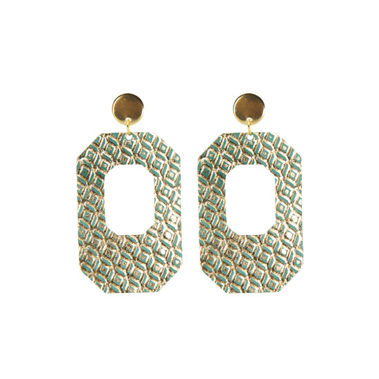 Green Mosaic New York Leather Earring