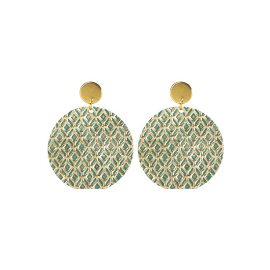 Green Mosaic Halo Leather Earring
