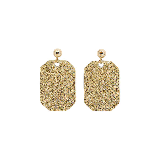 Gold Mini New York Leather Earring