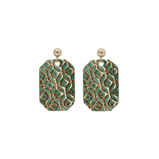 Green Mosaic Mini New York Leather Earring