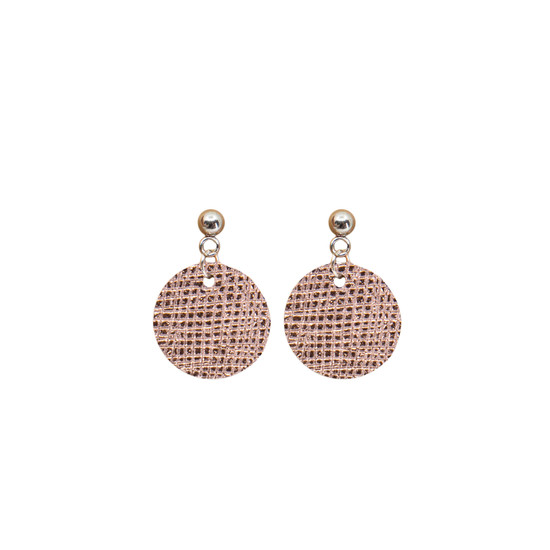 Rose Gold Mini Halo Leather Earring