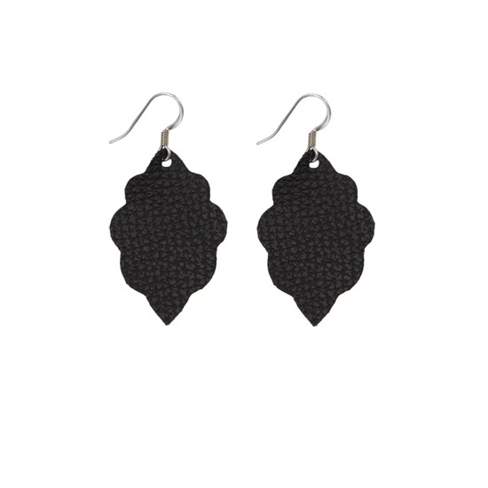 Black Signature Leather Earring Set