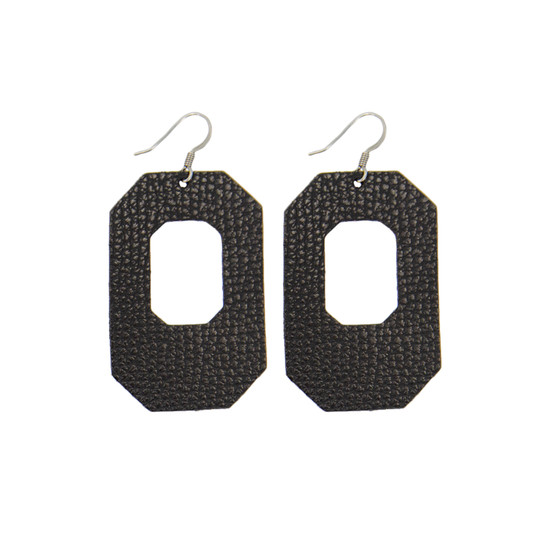 Black New York Leather Earring