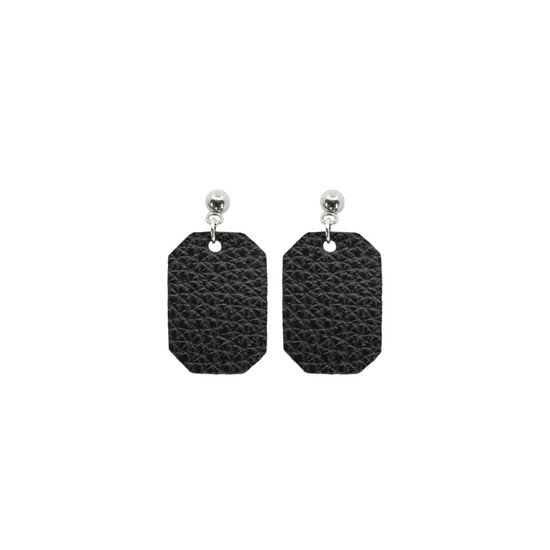 Black Mini New York Leather Earring