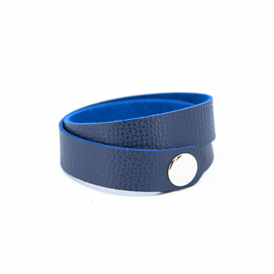 Navy Blue Leather Wrap Bracelet