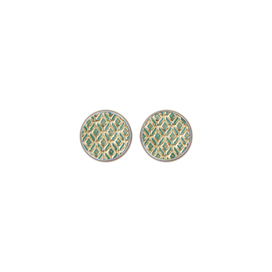 Green Mosaic Leather Stud Earring
