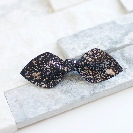 Silver & Black Leather Hair Bow Ponytail