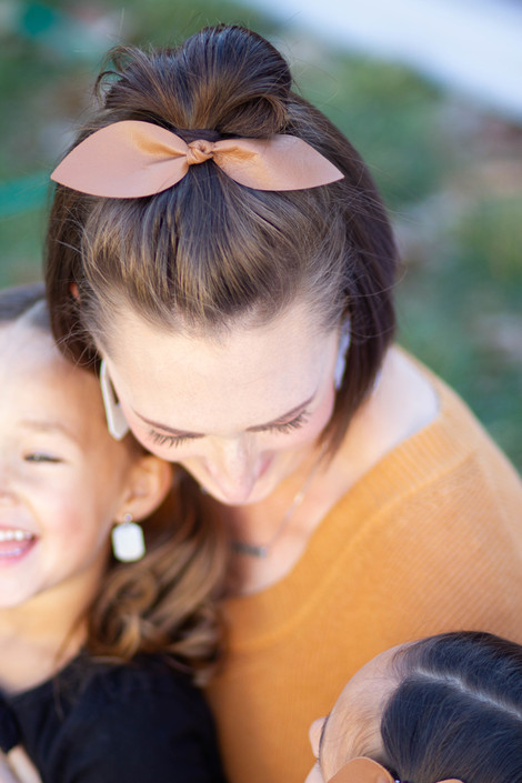 Tan Leather Hair Bow Ponytail