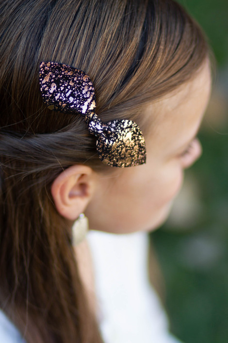 Rose Gold & Black Leather Bow Clip