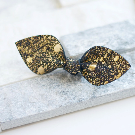 Gold & Black Leather Bow Clip