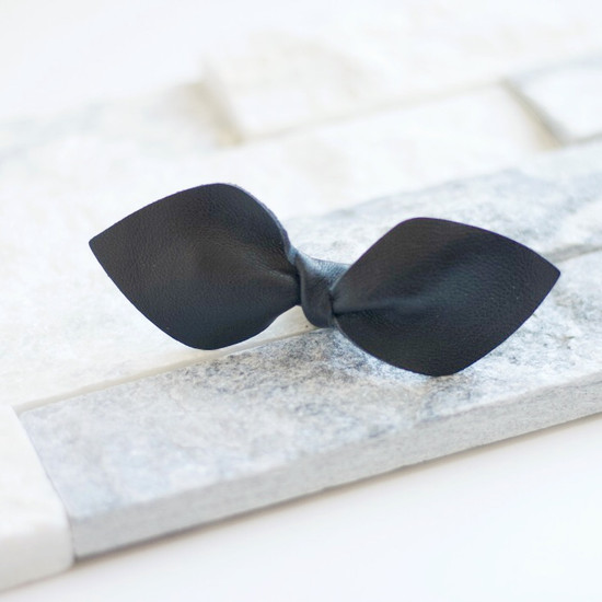 Black Leather Bow Clip