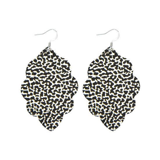 Black Glam Large Solid Leather Earring