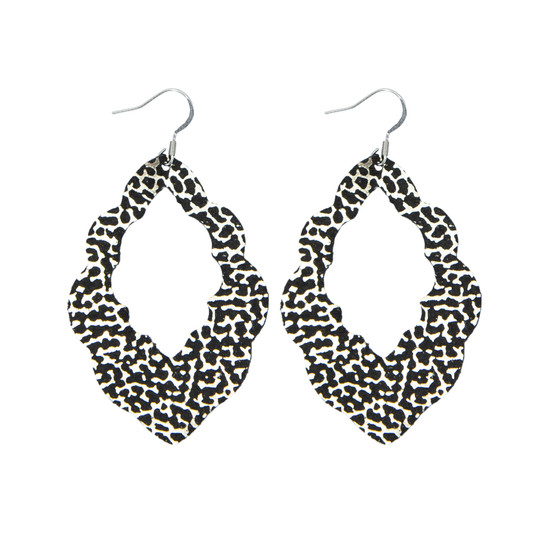 Black Glam Cut-Out Leather Earrings