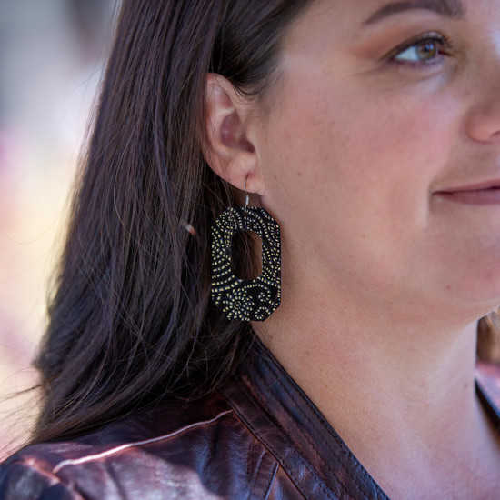 Rose Gold Petals New York Leather Earring