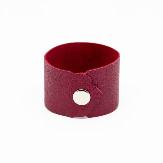 Ruby Red Leather Cuff