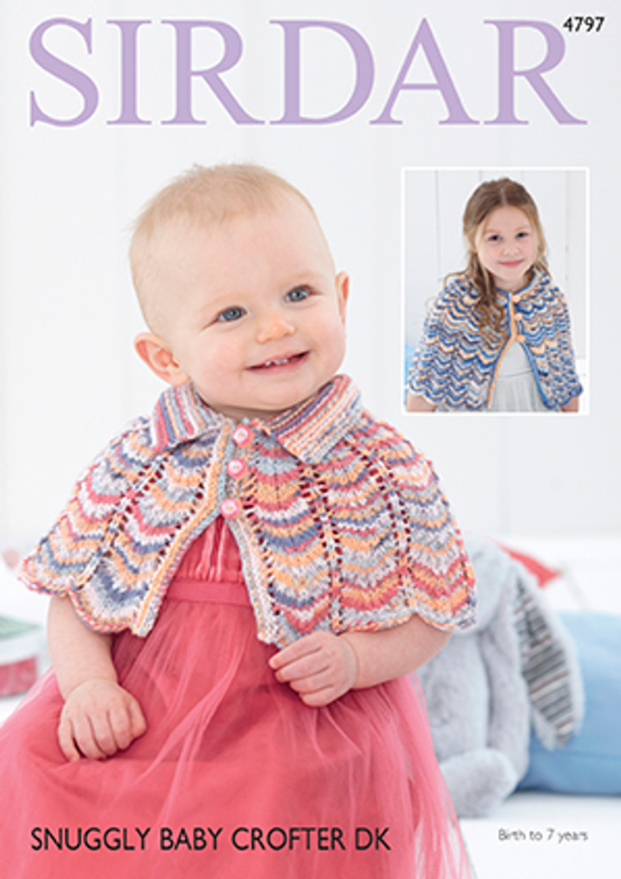 1d89d9928 Sirdar 4797 Snuggly Baby Crofter DK Cape Knitting Pattern - Knitting ...