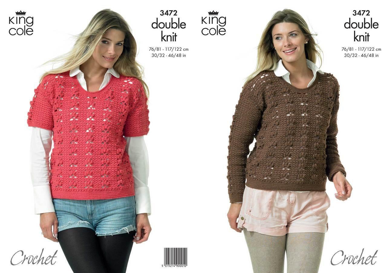 ba62d27f38f27b King Cole 3472 Crochet Sweater Pattern - Knitting Village