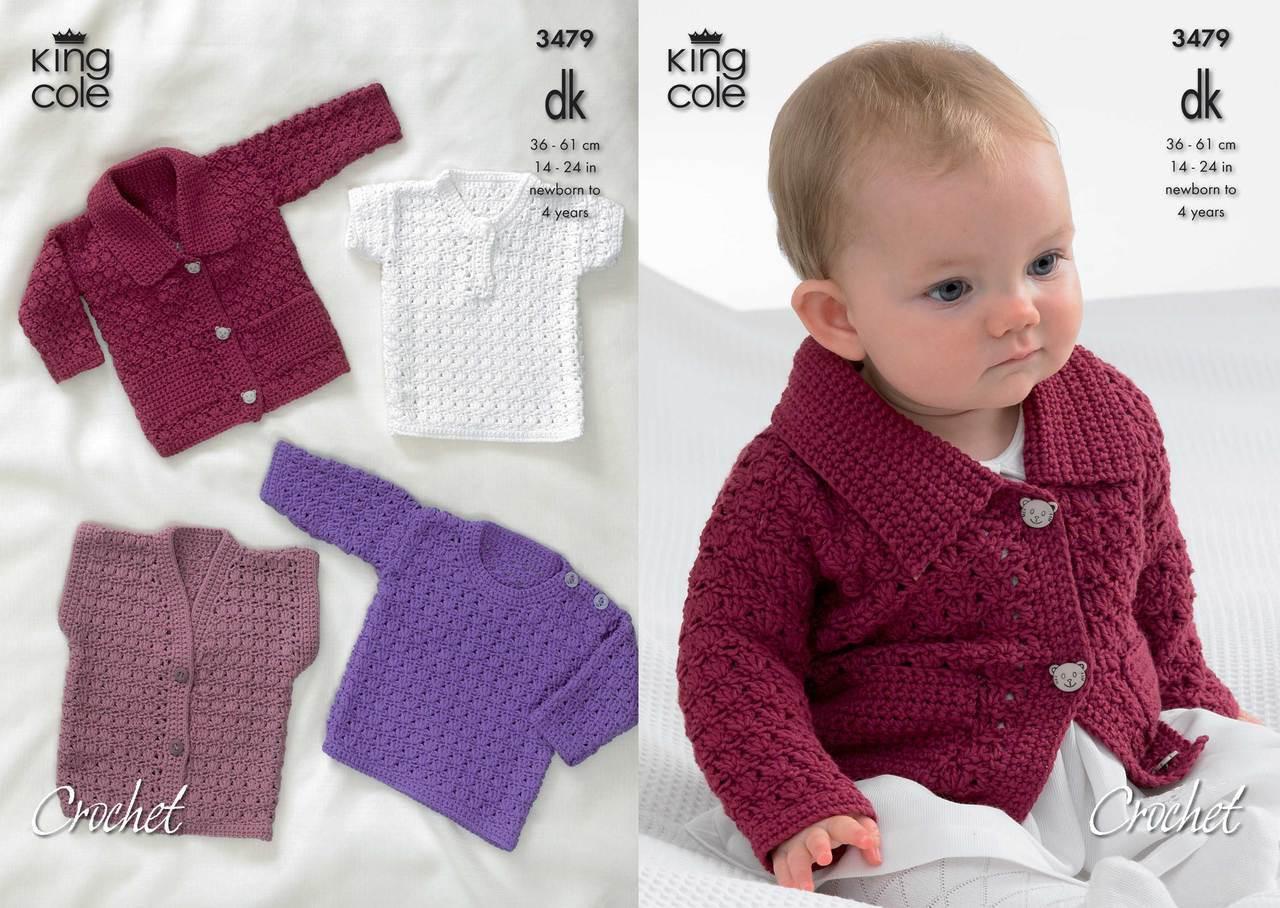 King Cole 3479 Crochet Cardigan Sweater Pattern Knitting Village