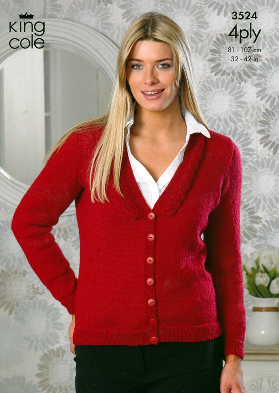 324234cdd King Cole 3524 Ladies 4 ply Cardigan Pattern - Knitting Village