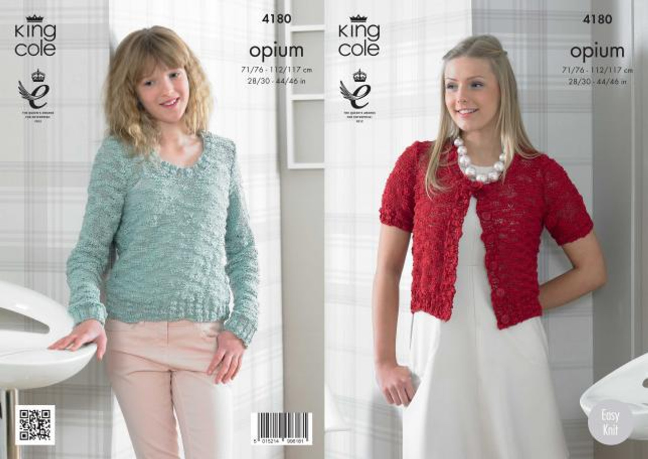 4bd5806d3 King Cole 4180 Opium Sweater and Cardigan Pattern - Knitting Village