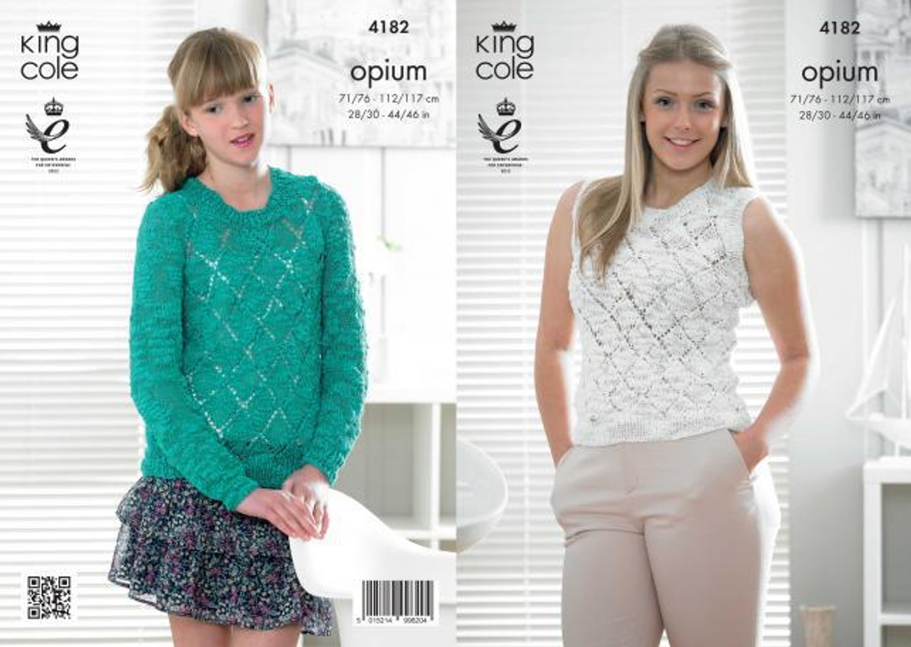 8ab6f66f1 King Cole 4182 Opium Sweater and Top Pattern - Knitting Village