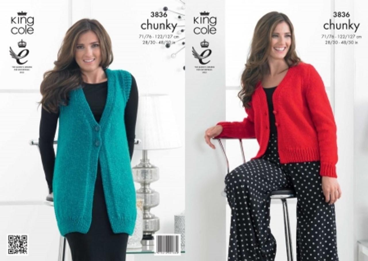 e449371c055a88 King Cole 3836 Ladies Glitz Chunky Cardigan   Waistcoat Pattern ...