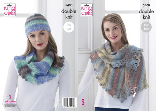 King Cole Ladies Double Knit Pattern Lace Chevron Shawls /& Snood Riot DK 4235