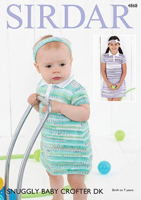 2512c2996 Sirdar 4868 Snuggly Baby Crofter DK Dress Knitting Pattern ...