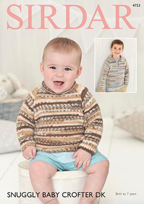 dd03b67bf Sirdar 4753 Snuggly Baby Crofter DK Sweater Pattern - Knitting Village