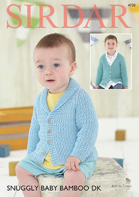bc10b266e Sirdar 4730 Snuggly Baby Bamboo DK Cardigan Pattern - Knitting Village