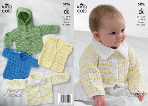 7835f4755a3c7c King Cole 3476 Crochet Jacket   Sweater Pattern