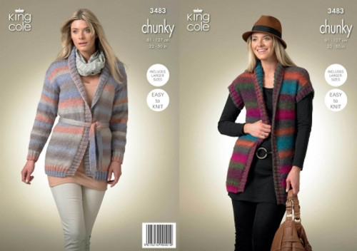 0e757acc695739 King Cole 3483 Ladies Chunky Cardigan and Waistcoat Knitting Pattern
