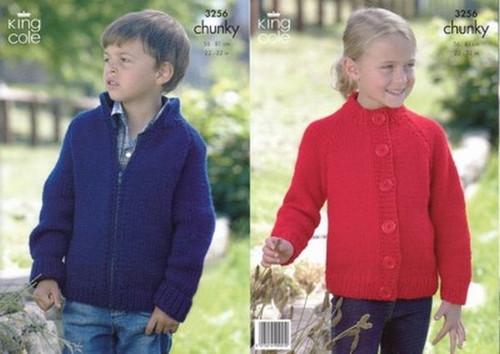 e721e73bf1f402 King Cole 3256 Childrens Chunky Cardigan Pattern - Knitting Village