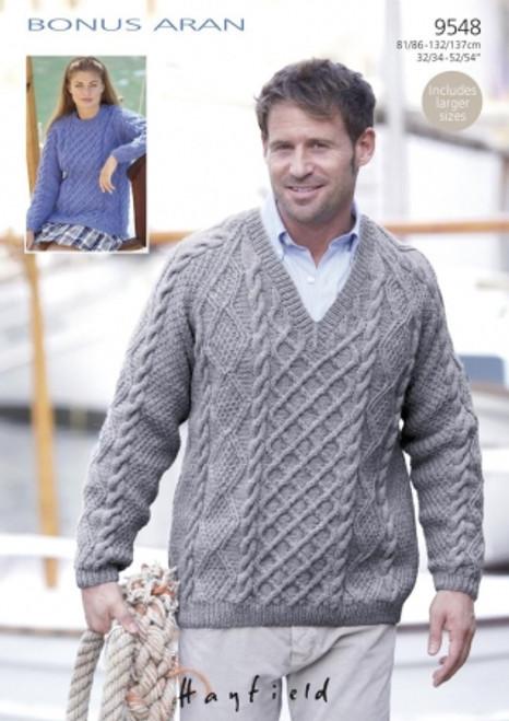 c792a53eb016 Sirdar 9548 Aran Sweater Pattern - Knitting Village