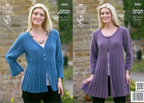642d26198aa7 King Cole 3022 Ladies Aran Jacket and Coat Knitting Pattern
