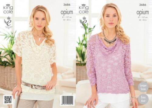 af951fac4 King Cole 3686 Ladies Opium Summer Sweater Knitting Patterns ...