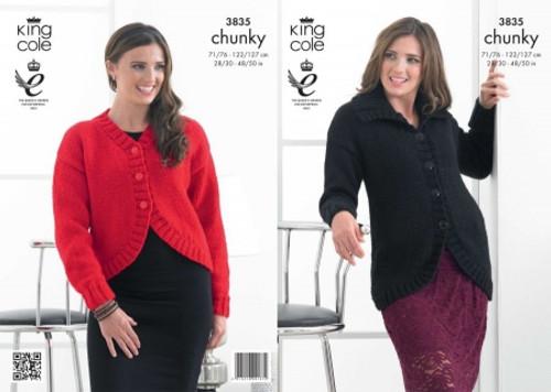 54abdddb6b6580 King Cole 3835 Ladies Glitz Chunky Jacket Knitting Pattern