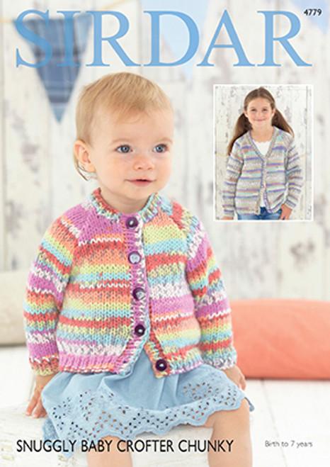 97e63f7e5907 Sirdar 4779 Snuggly Baby Crofter Chunky Cardigan Pattern - Knitting ...