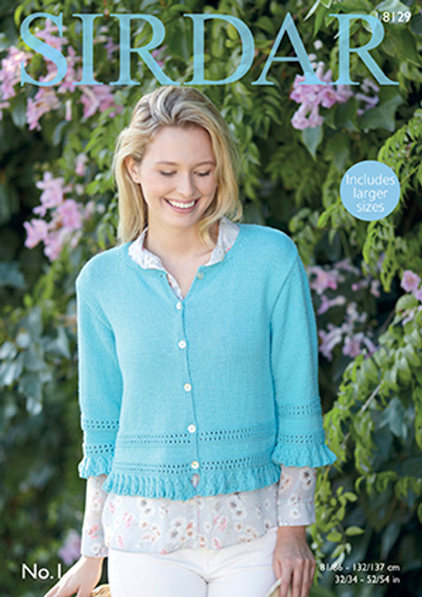3923b1f4b2c7 Sirdar 8129 No.1 DK Cardigan Pattern - Knitting Village