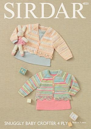 caadf1bd1 Sirdar 4820 Snuggly Baby Crofter 4 ply Cardigan Pattern - Knitting ...