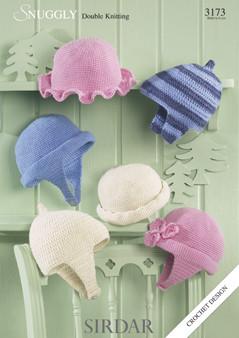 Sirdar 3173 Babies Childrens Crochet Hat Pattern Knitting Village