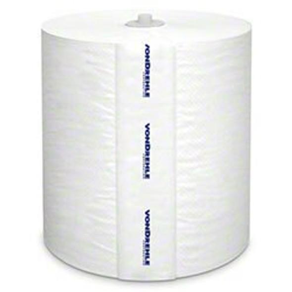 """Vondrehle 880BP Transcend Roll Towel, White, 800ft X 7.9"""", 1.25 Inch Core, 6 Per Cs."""