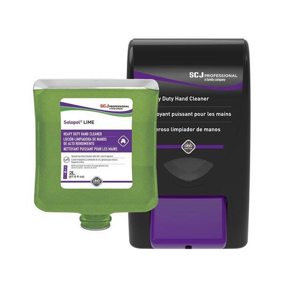 Solopol Lime Hand Cleaner 2 Liter Refill (LIM2LT) + Dispenser (HVY2LD) COMBO