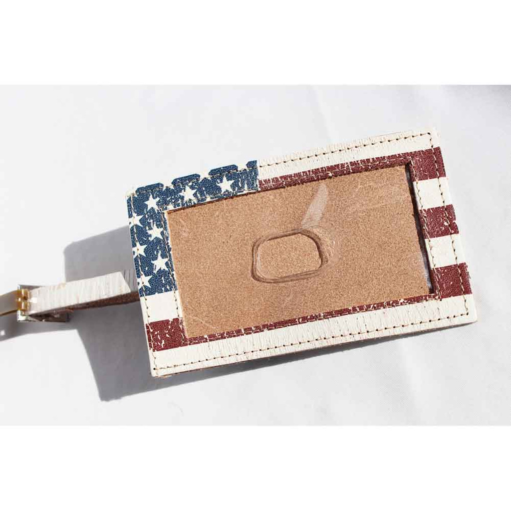 American Flag Leather Luggage Tag (12-005-0300)