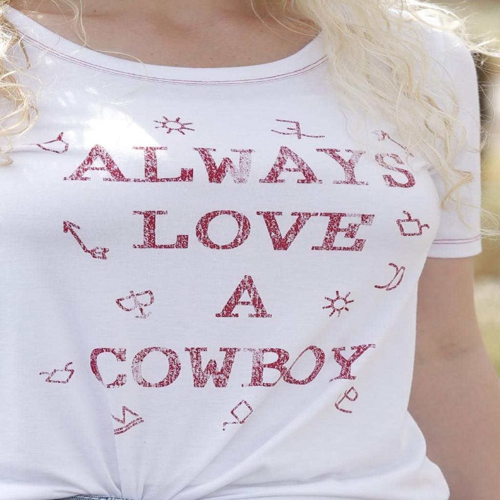 """Always Love a Cowboy"" Tee (White)"
