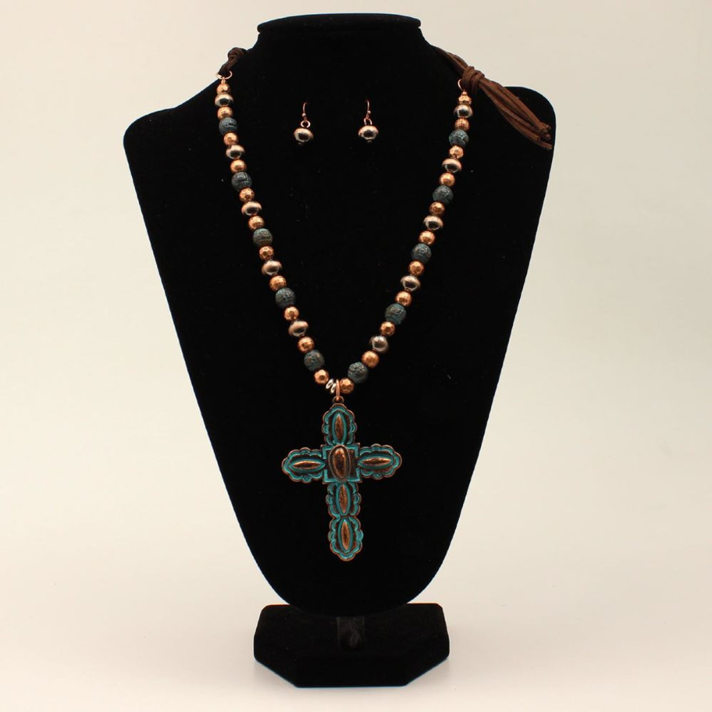 COPPER & LEATHER WITH CROSS PENDANT
