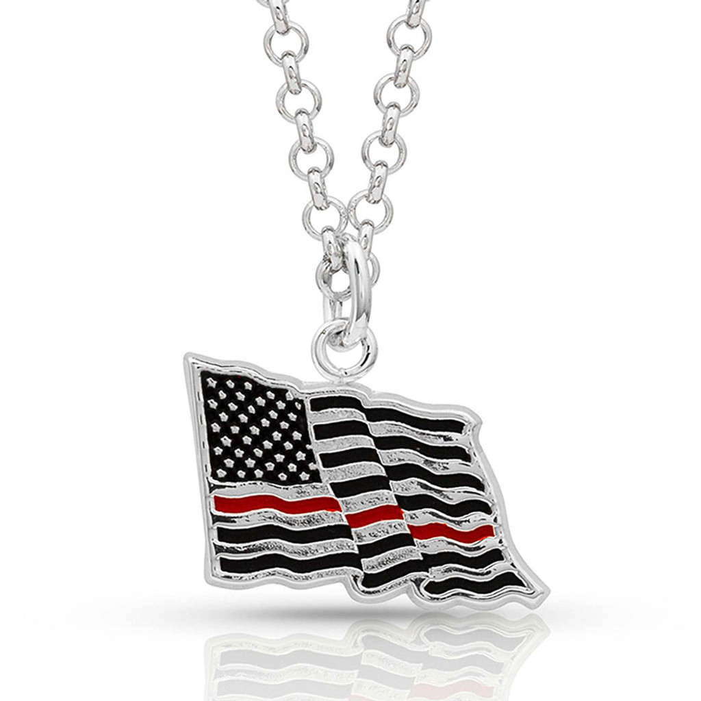 """I Stand Behind the Thin Red Line"" Flag Necklace"