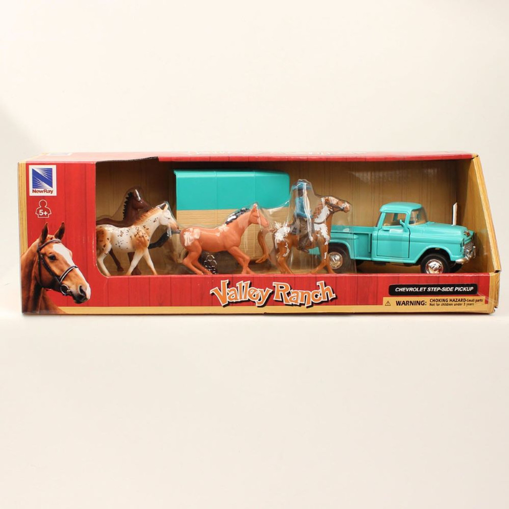 M&F Western Valley Ranch Chevrolet Vintage '55 Pickup & Trailer with Horses Toy Set