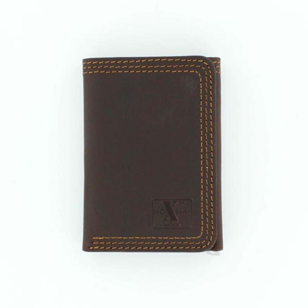 HD Xtreme Mens Work Brown Leather Trifold Wallet