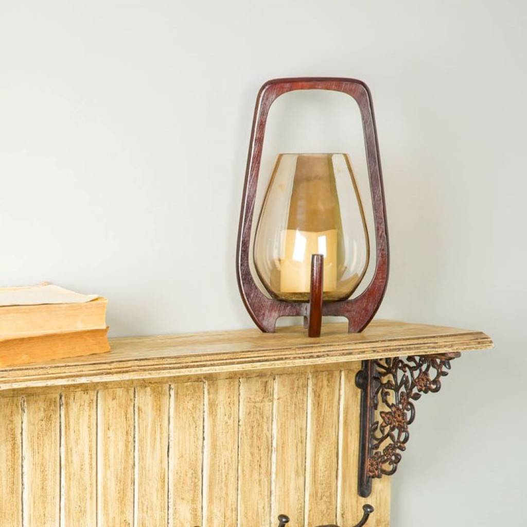 Small Luster Glass & Wood Candleholder
